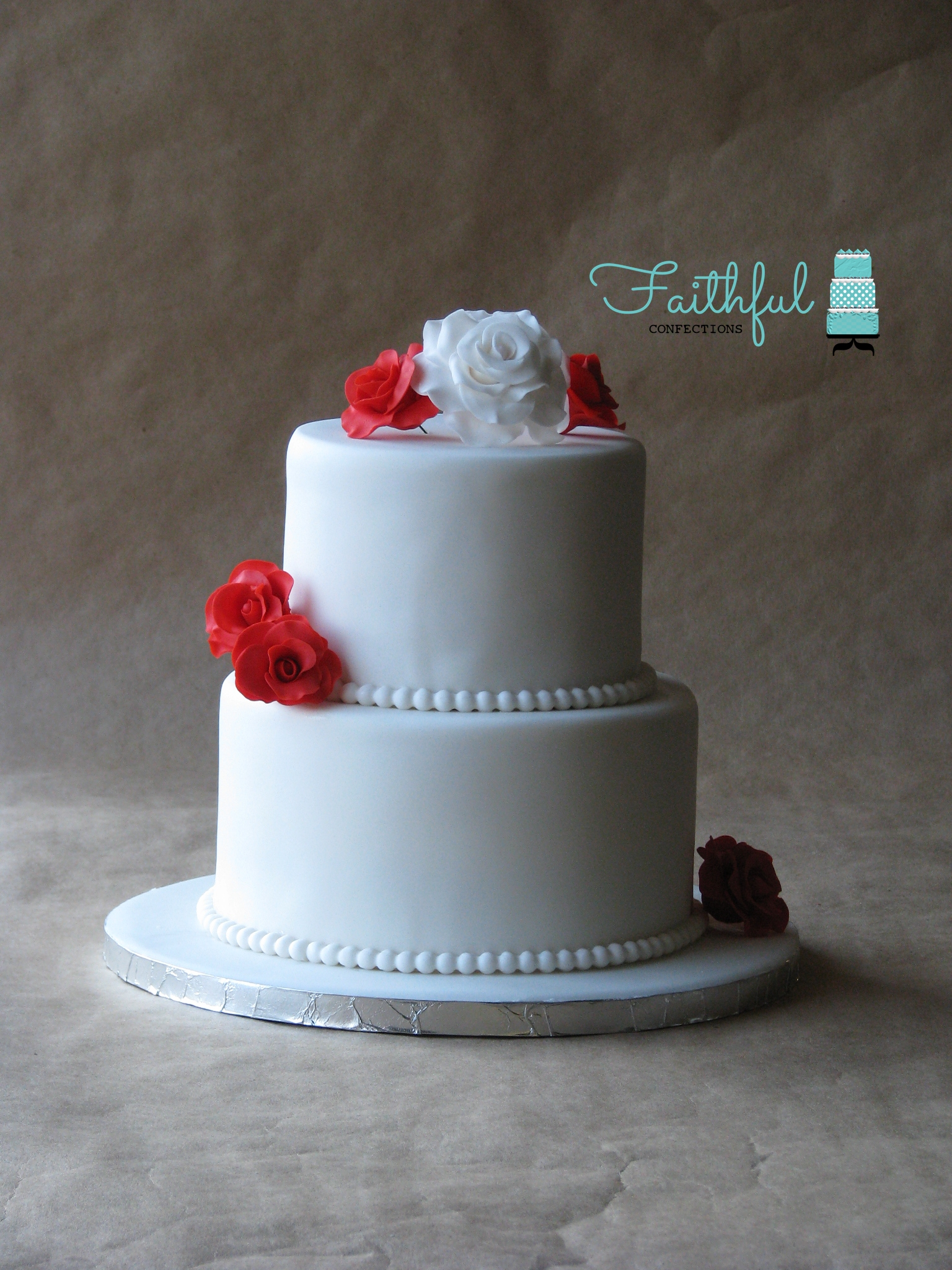 Simple Red And White Wedding Cakes